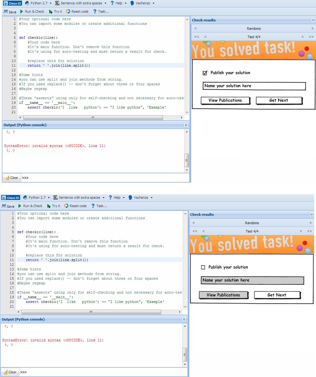 New win screen? - python coding challenges - Py CheckiO